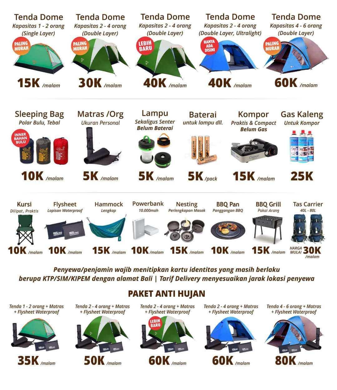 sewa tenda camping pricelist harga